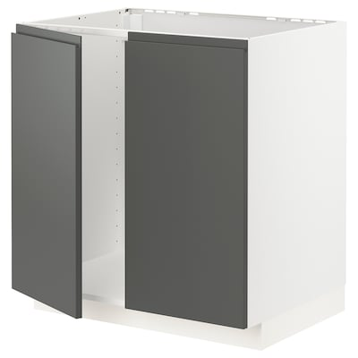 METOD Skříňka na dřez + 2 dveře, bílá/Voxtorp tmavě šedá, 80x60 cm