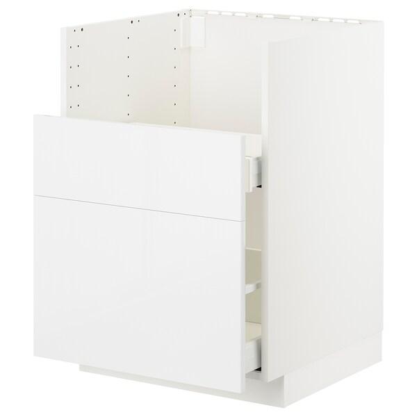 METOD Sp.skř.pro dřez BREDSJÖN/2čela/2z., bílá Ringhult/lesklá bílá, 60x60 cm