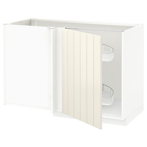 METOD Spod. rohová skř. s výsuvem, bílá/Hittarp krémová, 128x68 cm