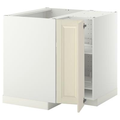 METOD Spod. rohová skříňka s ot. košem, bílá/Bodbyn krémová, 88x88 cm