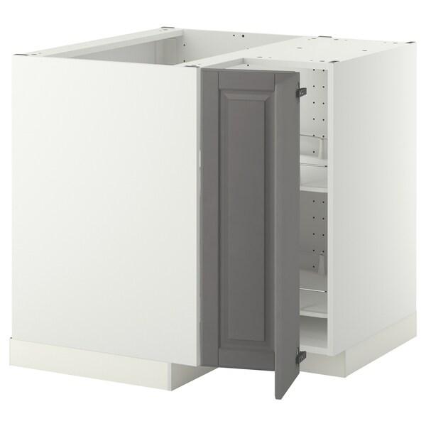 METOD Spod. rohová skříňka s ot. košem, bílá/Bodbyn šedá, 88x88 cm