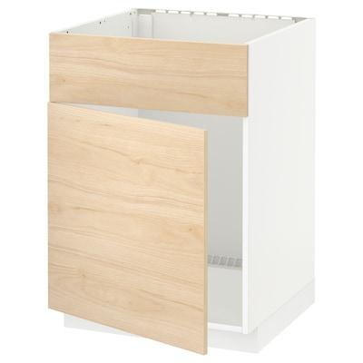 METOD Spod. skř. na dřez s dvířky/čelem, bílá/Askersund efekt světlého jasanu, 60x60 cm