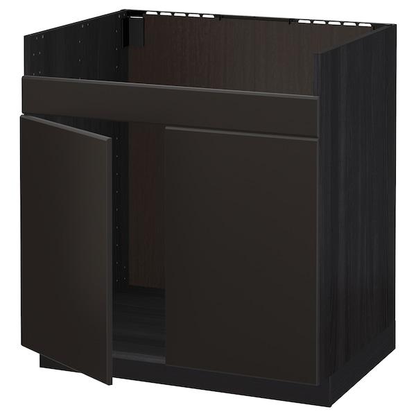 METOD Spod. skříňka pro dvojdřez HAVSEN, černá/Kungsbacka antracit, 80x60 cm
