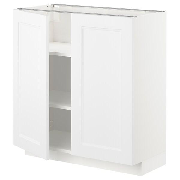 METOD Spod. skříňka s policemi/2 dvířky, bílá/Axstad matně bílá, 80x37 cm