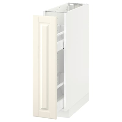 METOD Spod. skříňka/výsuv. vnitř. vyb., bílá/Bodbyn krémová, 20x60 cm