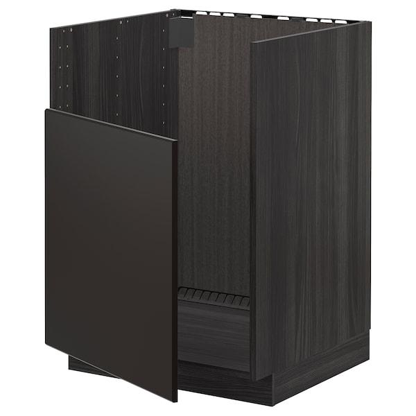 METOD Spodní skříňka na dř. BREDSJÖN, černá/Kungsbacka antracit, 60x60 cm