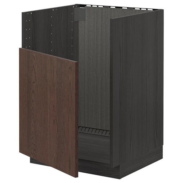 METOD Spodní skříňka na dř. BREDSJÖN, černá/Sinarp hnědá, 60x60 cm