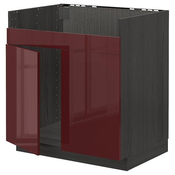 METOD Spodní skříňka pro dvojdřez HAVSEN, černá Kallarp/lesklá tmavě červeno-hnědá, 80x60 cm