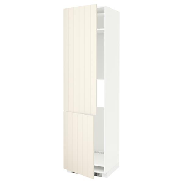 METOD Vys.sk. na chladničku/mraz.+2 dv., bílá/Hittarp krémová, 60x60x220 cm