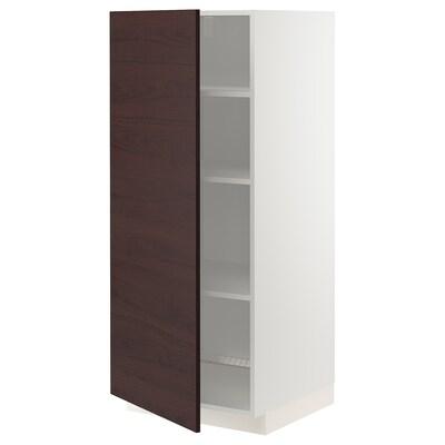METOD Vysoká skříň s policemi, bílá Askersund/tmavě hnědá vzor jasan, 60x60x140 cm