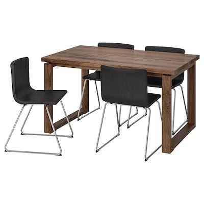 MÖRBYLÅNGA / BERNHARD stůl a 4 židle hnědá/Mjuk tmavě hnědá 140 cm 85 cm 74 cm