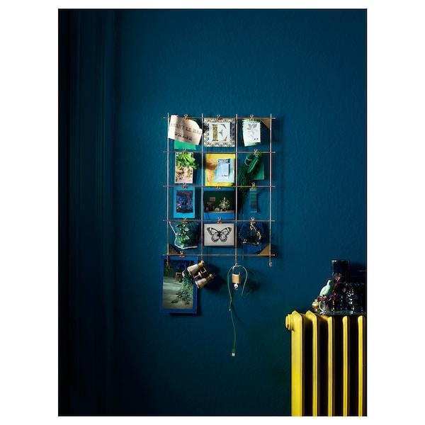MYRHEDEN nástěnka s klipy mosazná barva 45 cm 62 cm