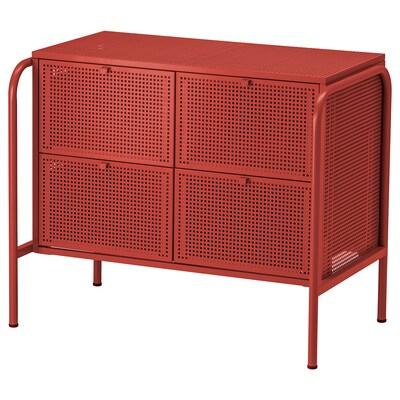 NIKKEBY komoda se 4 zásuvkami červená 84 cm 49 cm 70 cm 34.0 cm 35.5 cm 17.5 cm