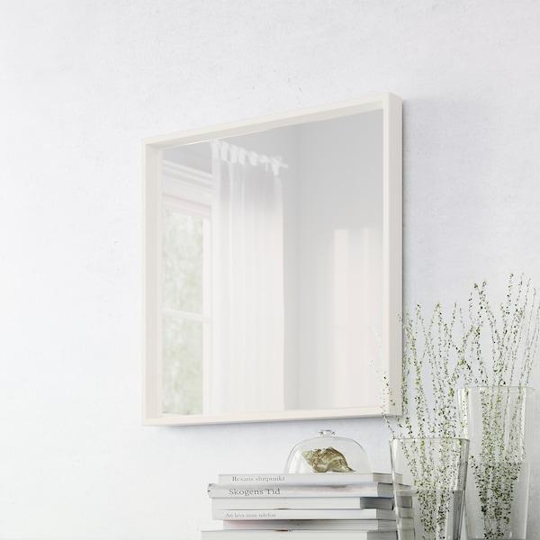 NISSEDAL Zrcadlo, bílá, 65x65 cm