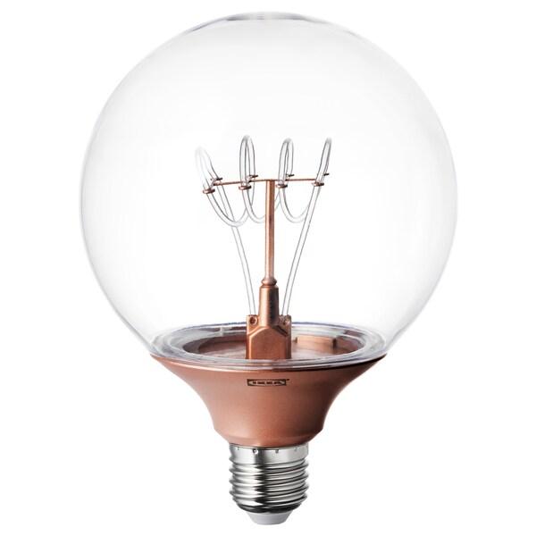 NITTIO Žárovka LED E27 20 lumenů, kulatá měděná barva, 120 mm