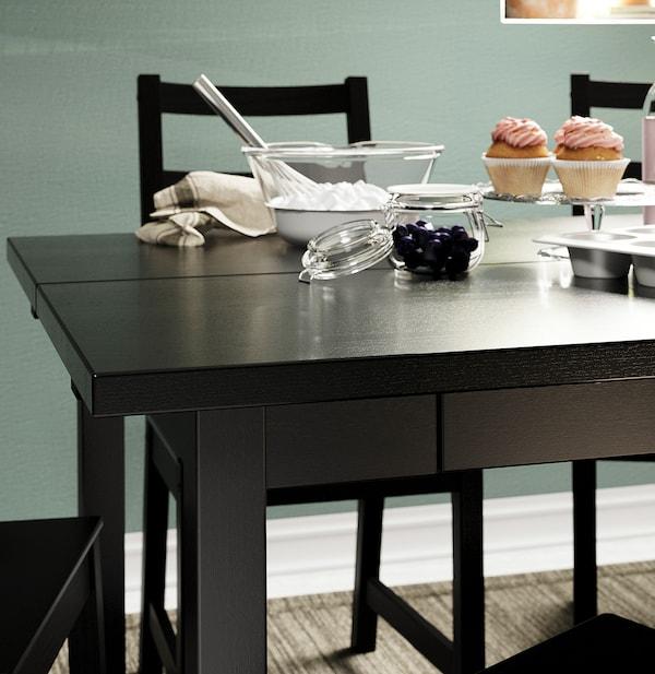 NORDVIKEN Rozkládací stůl, černá, 152/223x95 cm