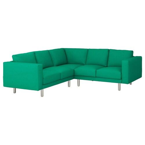 NORSBORG 4místná rohová pohovka Edum světle zelená/kov 88 cm 85 cm 225 cm 225 cm 18 cm 60 cm 43 cm