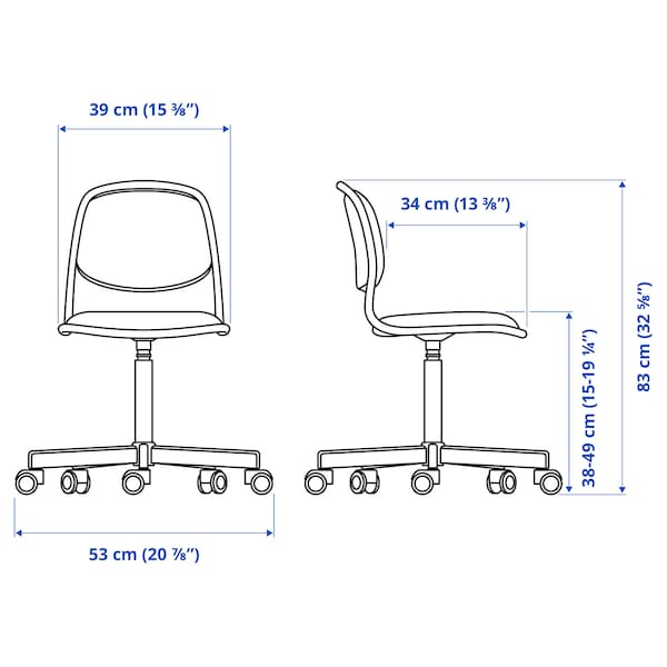 ÖRFJÄLL Dětská židle, bílá/Vissle světle šedá
