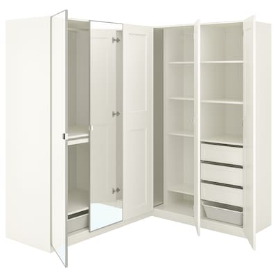 PAX / GRIMO/VIKEDAL Rohová šatní skříň, bílá/zrcadlové sklo, 210/160x201 cm