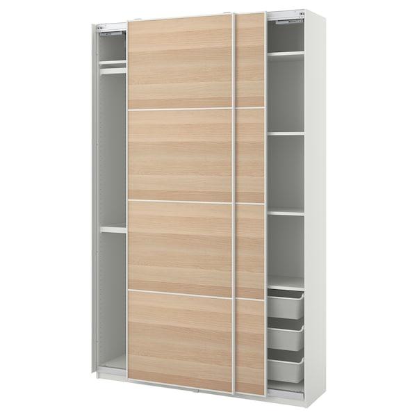 PAX / MEHAMN Šatní skříň, bílá/vz. bíle moř. dub, 150x44x236 cm