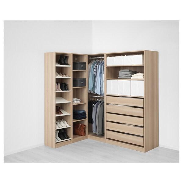 PAX Rohová šatní skříň, vz. bíle moř. dub, 160/188x201 cm