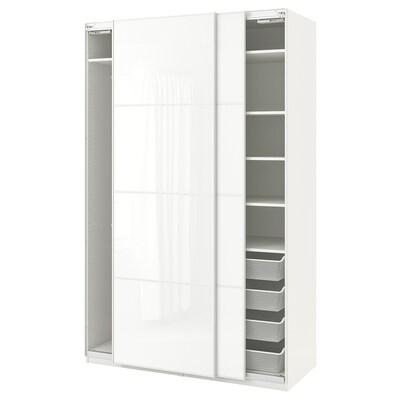 PAX Šatní skříň, bílá/Färvik bílé sklo, 150x66x236 cm