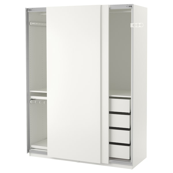 PAX Šatní skříň, bílá/Hasvik bílá, 150x66x201 cm