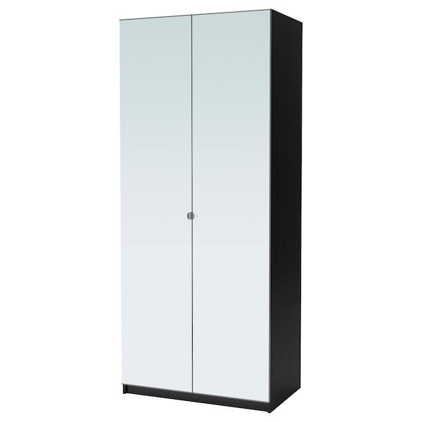 PAX Šatní skříň, černohnědá/Vikedal zrcadlové sklo, 100x60x236 cm