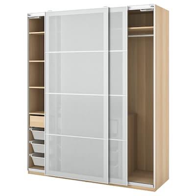PAX / SVARTISDAL šatní skříň vz. bíle moř. dub/bílá vzor papír 200.0 cm 66.0 cm 236.4 cm