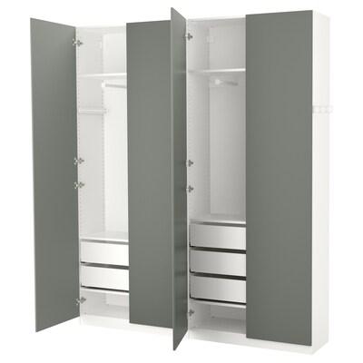 PAX šatní skříň bílá/Reinsvoll šedo-zelená 200 cm 38 cm 236.4 cm