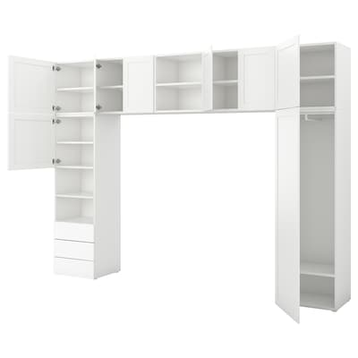 PLATSA Šatní skříň, 8 dveří a 3 zásuvky, bílá/Fonnes Sannidal, 340x42x241 cm