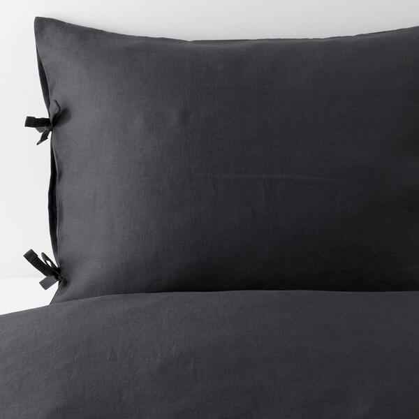 PUDERVIVA Povlečení na jednolůžko, tmavě šedá, 150x200/50x60 cm