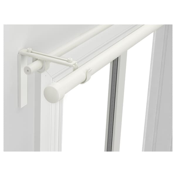 RÄCKA / HUGAD Komb. dvojité tyče na závěsy, bílá, 210-385 cm