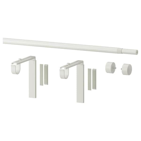 RÄCKA Kombinace tyče na závěsy, bílá, 120-210 cm