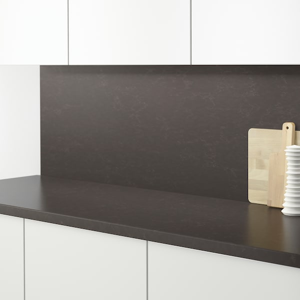 RÅHULT Nástěnný panel na míru, matně tmavě šedý/mramorový efekt křemen, 1 m²x1.2 cm