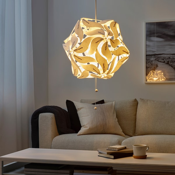 RAMSELE Závěsná lampa, květina/bílá, 43 cm