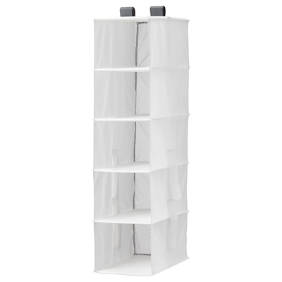 RASSLA Úložný díl s 5 přihrádkami, bílá, 25x40x98 cm