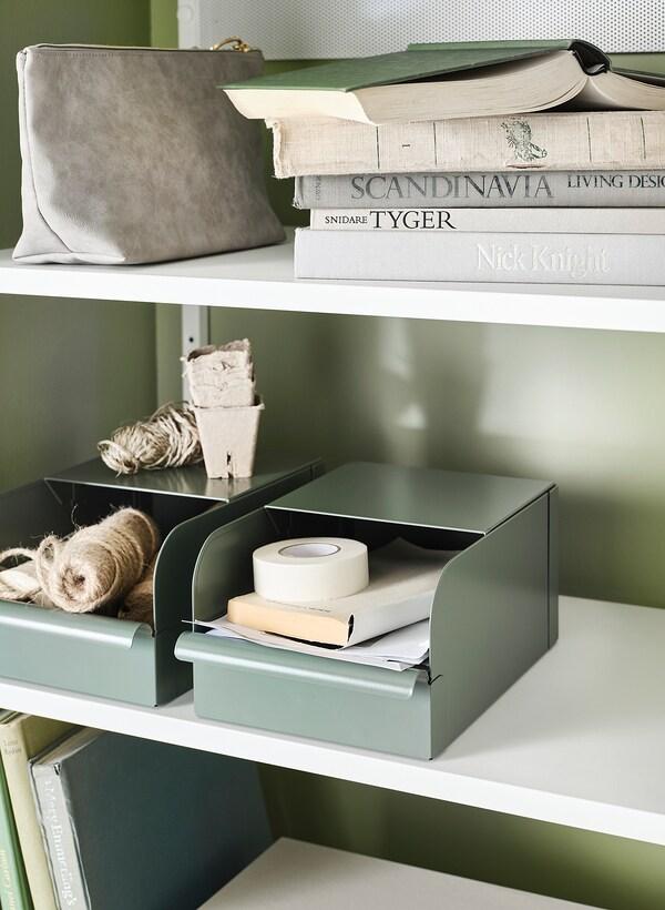 REJSA Krabice, šedo-zelená/kov, 9x17x7.5 cm