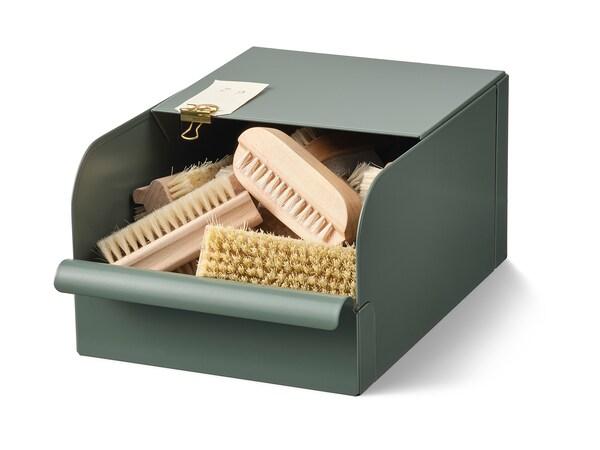 REJSA Krabice, šedo-zelená/kov, 17.5x25.0x12.5 cm