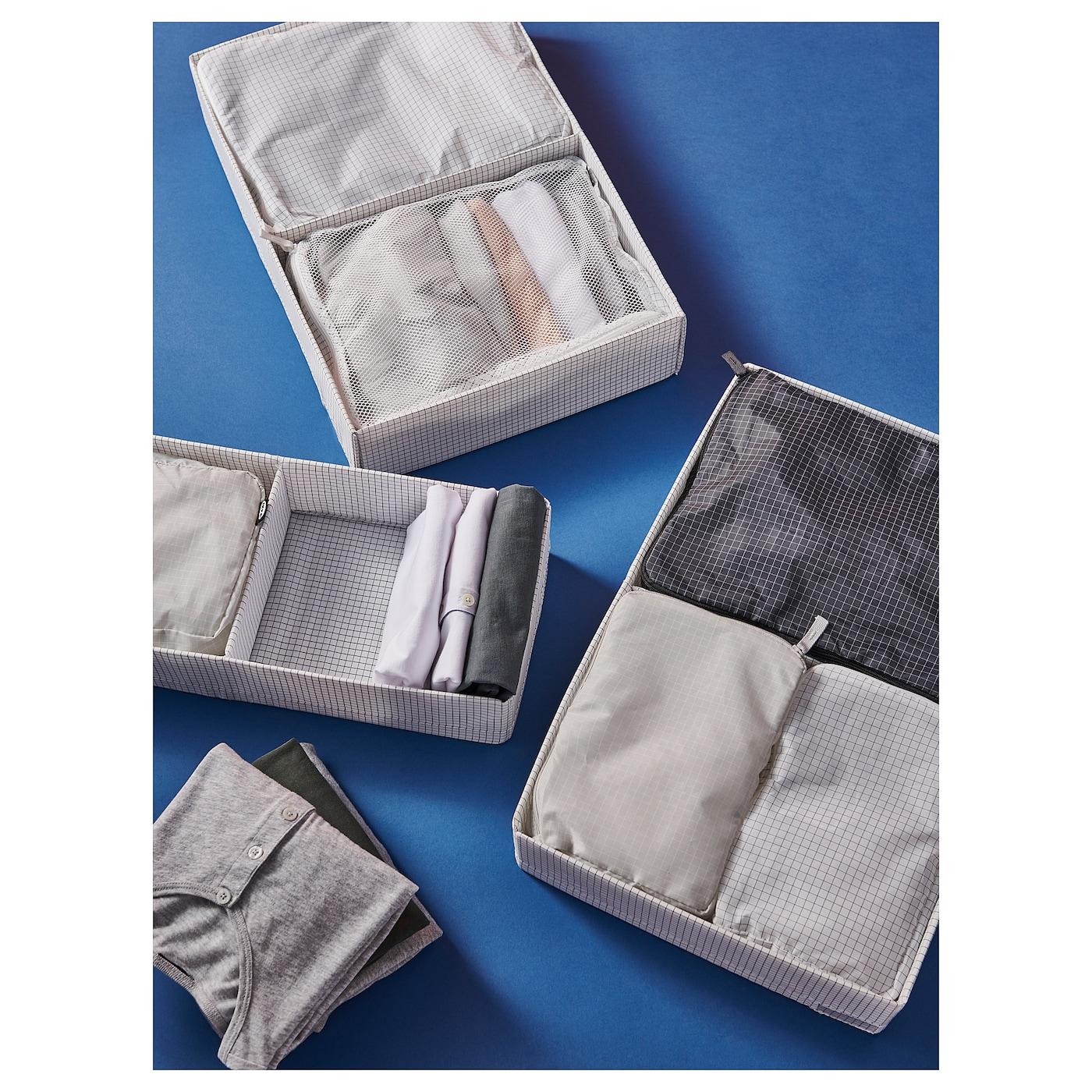 RENSARE Taška na oblečení, sada 3 ks, vzor kostka/šedá černá