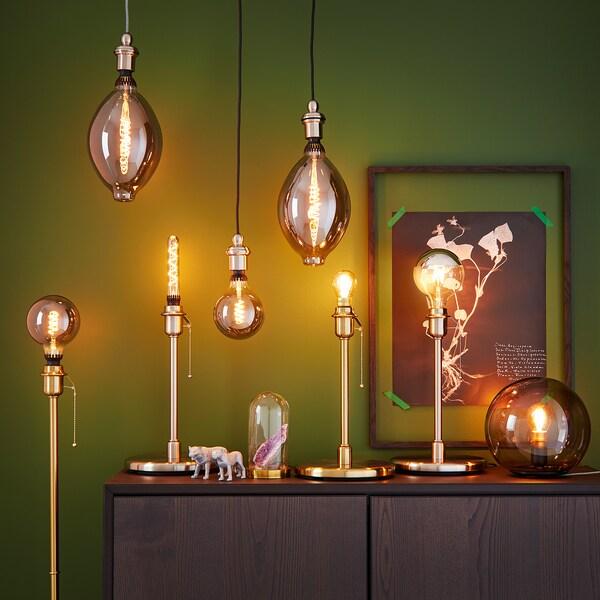 ROLLSBO Žárovka LED, E27, 200 lumenů, stmívatelná/kulatá čiré šedé sklo, 125 mm