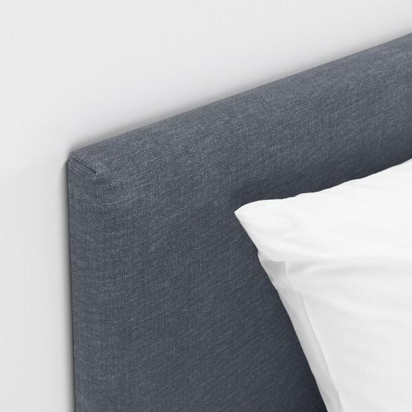 SÄBÖVIK Čalouněná postel, šedá/tvrdá, 140x200 cm
