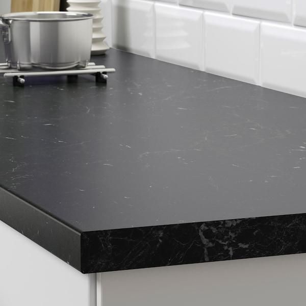 SÄLJAN pracovní deska černá mramorový efekt/laminát 186 cm 63.5 cm 3.8 cm