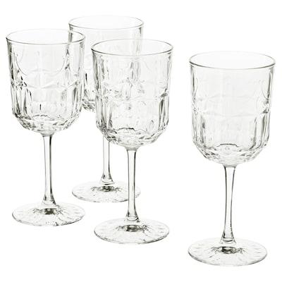 SÄLLSKAPLIG Sklenka na víno, čiré sklo/vzorováno, 27 cl