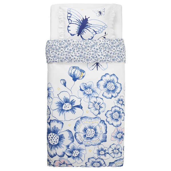 SÅNGLÄRKA Povlečení na jednolůžko, motýl/bílá modrá, 150x200/50x60 cm