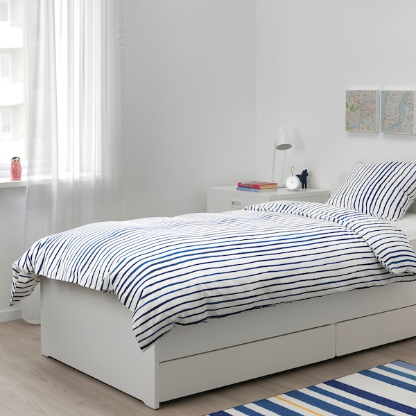 SÅNGLÄRKA povlečení na jednolůžko proužky/modrá bílá 200 cm 150 cm 50 cm 60 cm