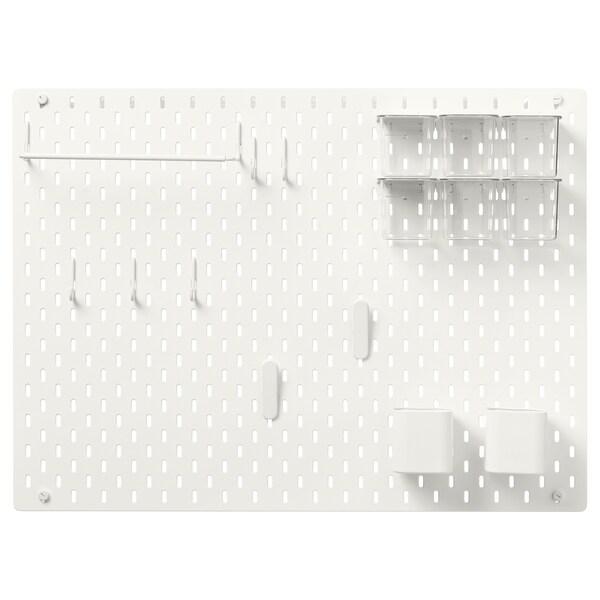 SKÅDIS Kombinace s dírkovanou deskou, bílá, 76x56 cm