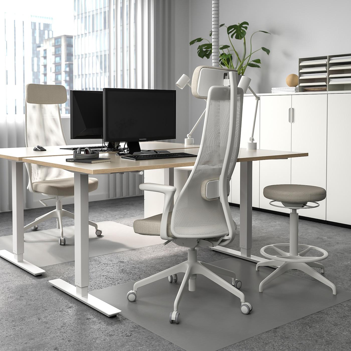 SKARSTA Polohovací stůl, béžová/bílá, 160x80 cm