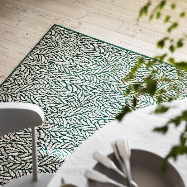 SKELUND Hladce tkaný koberec, vn./venk., zeleno-béžová, 200x250 cm
