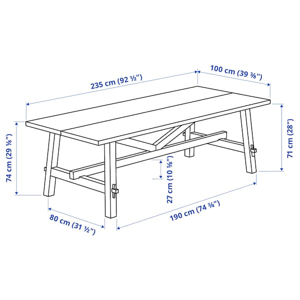 SKOGSTA Jídelní stůl, akácie, 235x100 cm